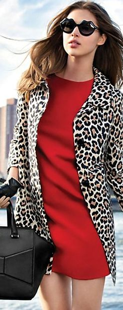 Kate Spade fall street style - red dress and leopard coat with funky sun glasses