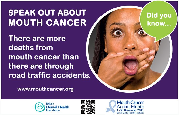 Mouth Cancer Action Month Did you know? There are more deaths from mouth cancer than there are through road traffic accidents. #MCAM #MouthCancer #DidYouKnow http://www.mouthcancer.org/page/register-your-interest