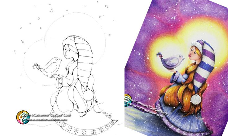printable coloring page : snow girl and bird by creationsCeeCee on Etsy