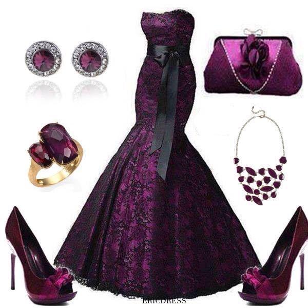 Dark purple dress & accessories