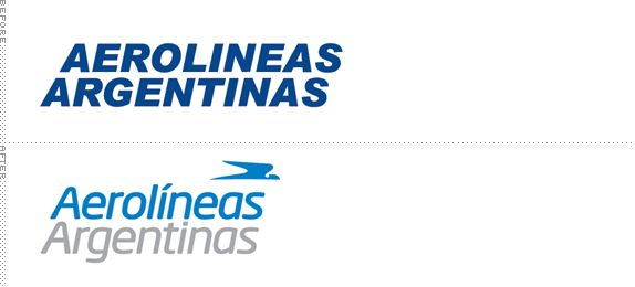 Aerolíneas Argentinas Logo, Before and After