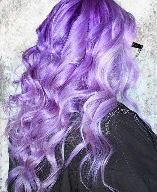 Vibrant Long Lavender Hair