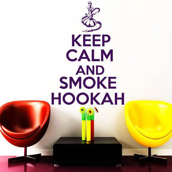 Wall Decals Keep Calm And Smoke Hookah Quote by VinylDecals2U