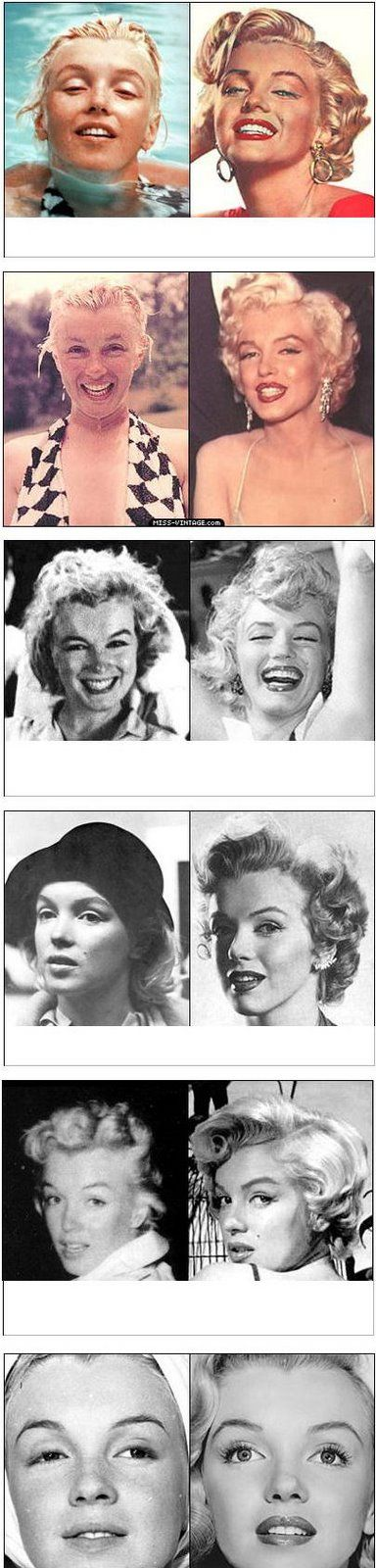 ❤Marilyn Monroe ~*❥*~❤  without makeup. She was still beautiful.