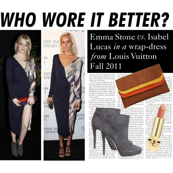Who Wore It Better: Emma Stone or Isabel Lucas, created by polyvore-editorial on PolyvoreBetter, Polyvore Editorial, Wore, Dr. Who, Polyvoreeditori, Isabel Lucas, Emma Stones