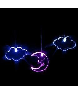MOMO Mobile Moon and Cloud 3 x 10mm thick acrylic shapes, one moon and two clouds, each lit by it's own colour changing LED, suspended by micro wire from an acrylic ring and battery pod. Colour cycle - blue, white, pink and purple. Power Requirements: 3 x AAA batteries (not included). Batteries (Alkaline) will last approximately 30 – 50 hours. Rechargeable batteries can be used. Shape Dimensions: Moon 68 x 60 x 10 / Cloud 70 x 38 x 10 Price $39.95 Tag Photo