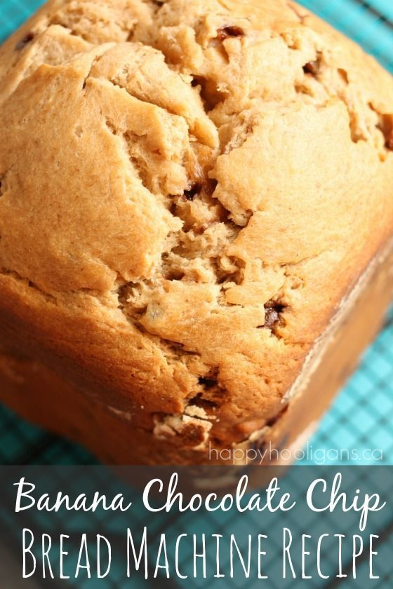 Bread Machine BANANA CHOCOLATE CHIP BREAD! SO easy! Just dump your ingredients in, press the button, and walk away! It's SO good! - Happy Hooligans