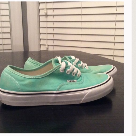 Mint green vans MAKE OFFERS(: Pretty much brand new without stains or creases! Wore them only a handful of times, other listing for these got messed up. MAKE OFFERS (: Vans Shoes