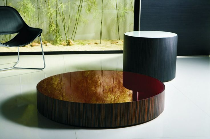 Mesa lateral redonda madera y cubierta lacada