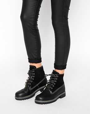 ASOS ANOTHER GALAXY Leather Hiker Ankle Boots