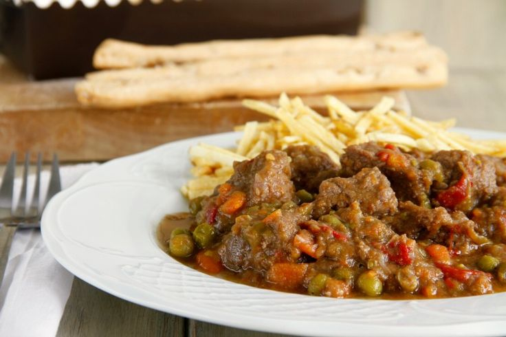 Carne guisada con pimientos y guisantes - MisThermorecetas