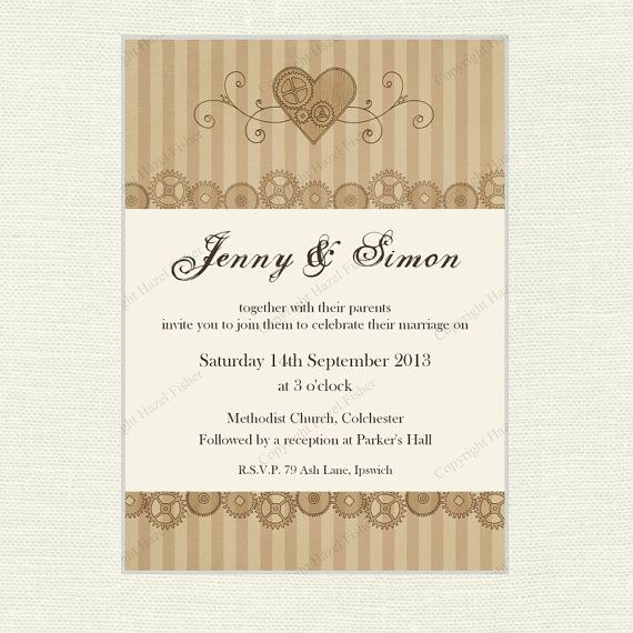 Steampunk themed printable wedding invitation featuring drawings of cogs and a steampunk style heart in sepia tones.  hfcSupplies, Etsy #SteampunkWedding #SteampunkPrintable #WeddingInvite