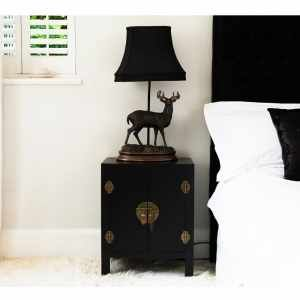 Rama & Sita Black Bedside Cabinet - French Bedroom Sale