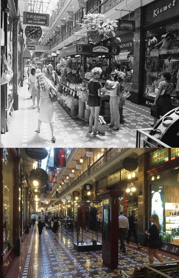 The ground floor of the Strand Arcade 1982 > 2016. [National Library of Australia>Phil Harvey. By Phil Harvey]