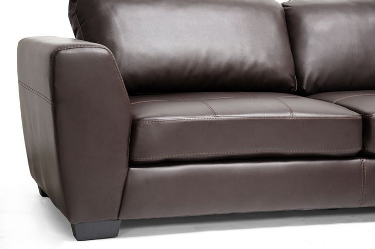 Baxton Studio Orland Brown Leather Modern Sectional Sofa Set with Right Facing Chaise | Affordable Modern Furniture in Chicago