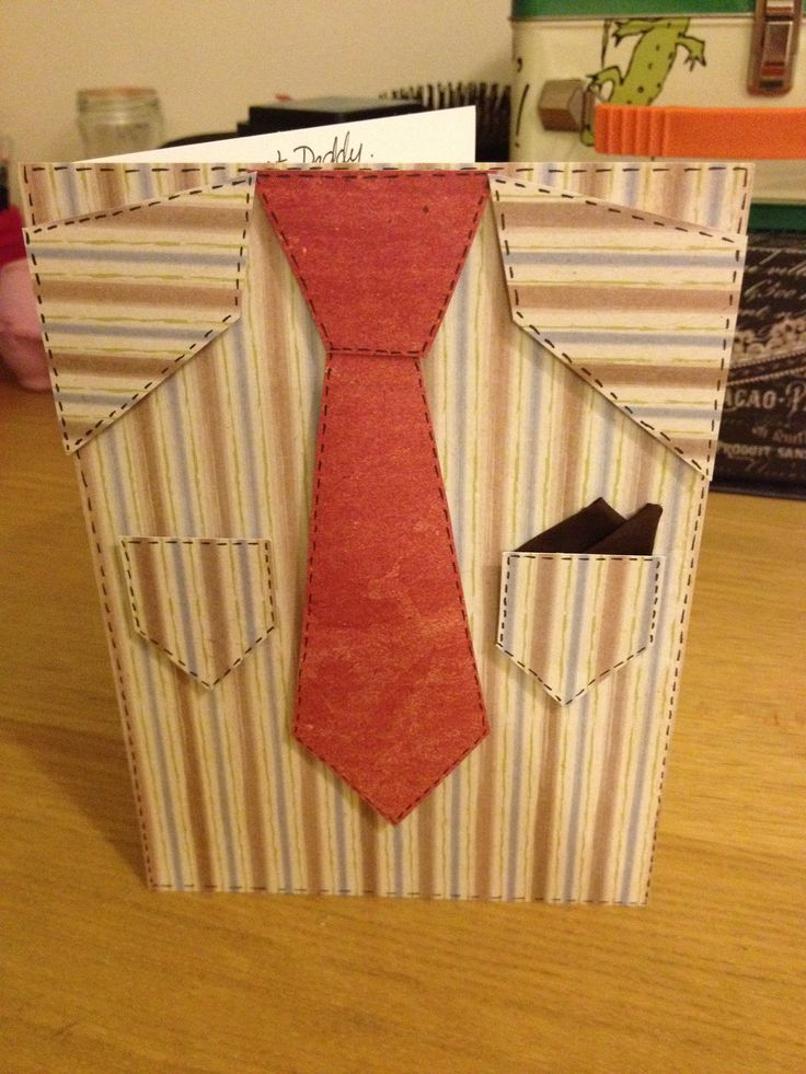 Birthday card for my Dad. Suit card. Hand made card. Brown card. Stripy card. Embossed card.