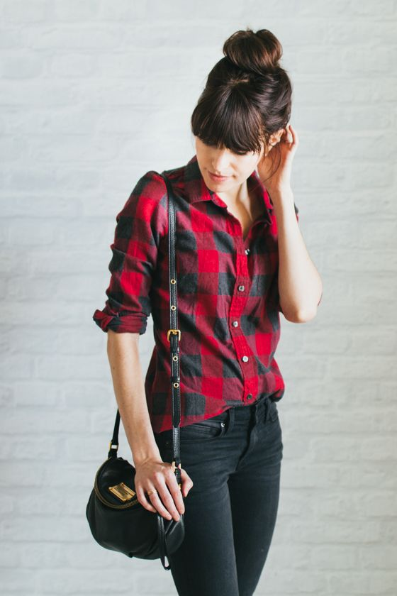 flannel shirt and jeans, so casual and comfy but looks stylish: