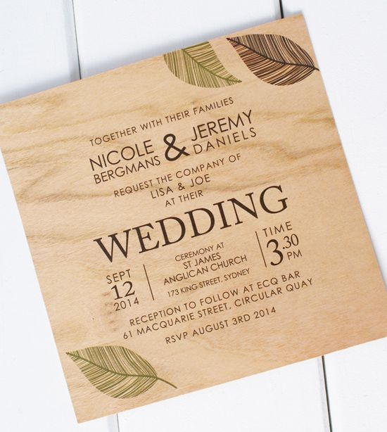 Wooden Wedding Invitations From Poppiseed Designs