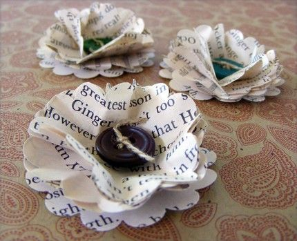 Pretty recycled print decorations. @Jessica Wheeless, Have you seen these? They combine 2 of your favorite things! Books and Buttons!!