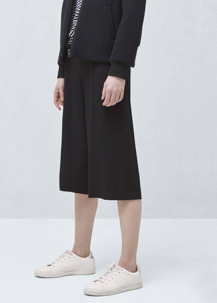 Укороченные брюки палаццо - Женская | MANGO МАНГО Россия (Российская Федерация)
