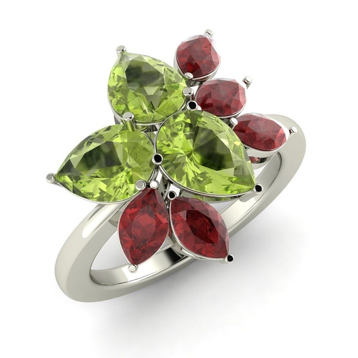 2.72 Ctw Certified Peridot & Garnet Solid 14k Gold Cluster Engagement Ring