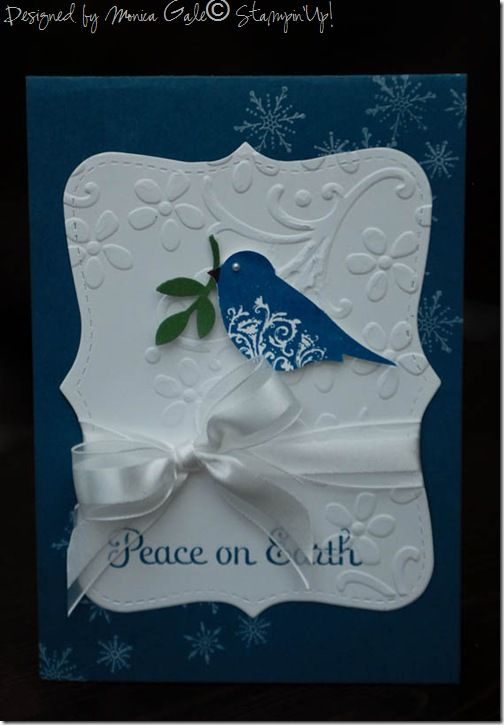SU Four the Holidays(R), top note die, bird punch, Elegant bouquet E F: Christmas Cards, Cards Ideas, Birds Cards, Christmas Note Cards, Cards Christmas Peace, Su Tops, Cards Birds Punch, Holidays Cards, Tops Note