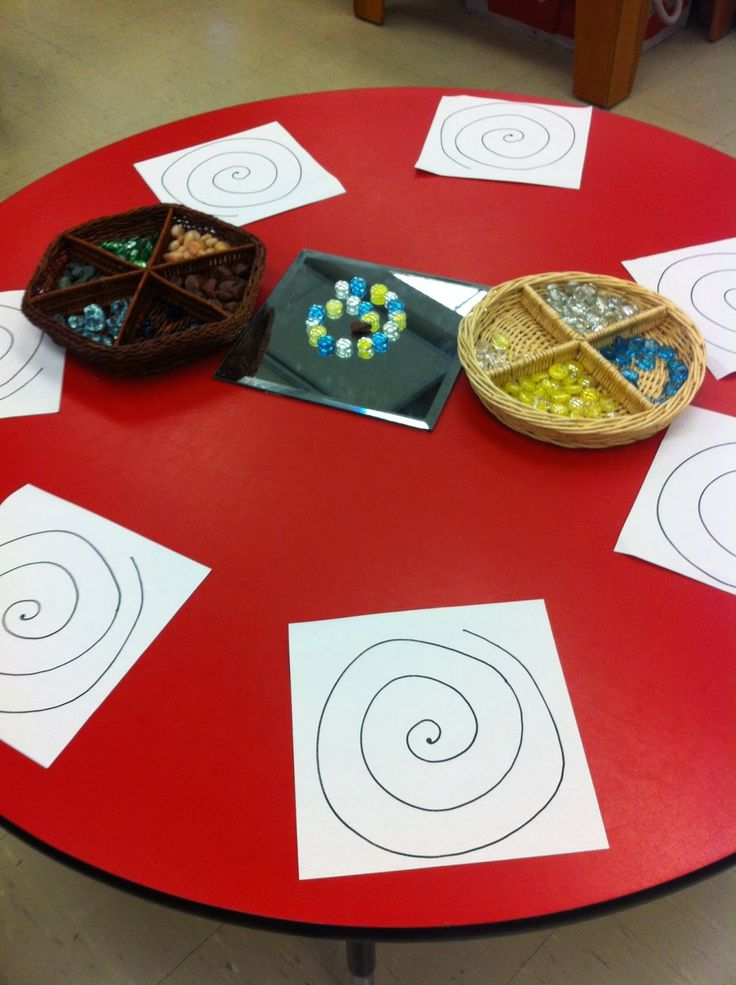 Site shows many inquiry tables. This one is to experience spirals before learning about snails.