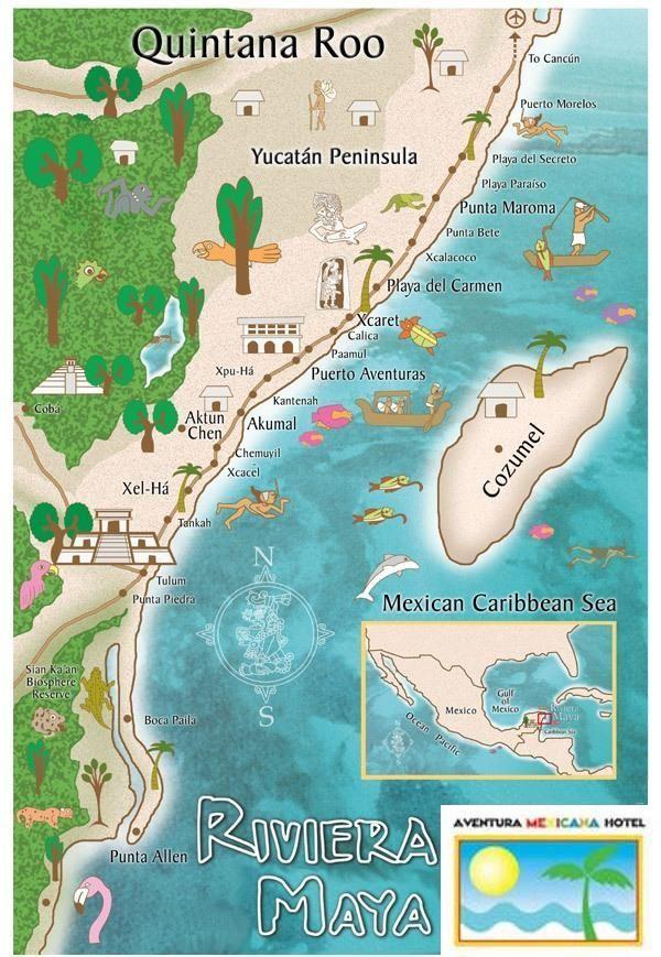 map of Riviera Maya area