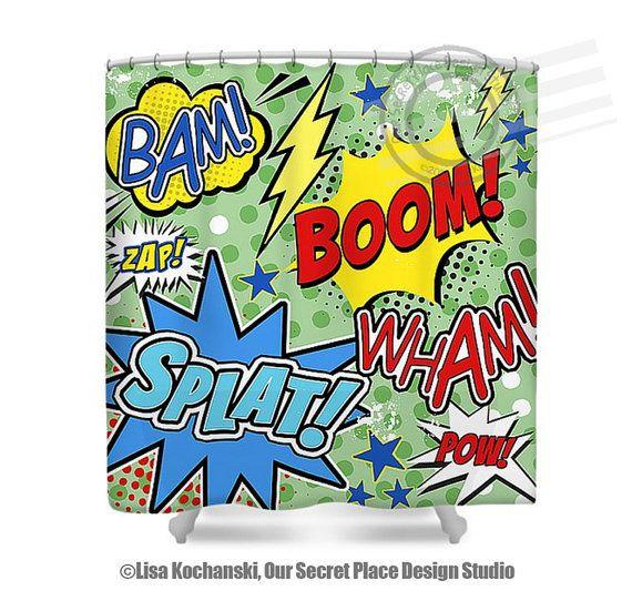 Superhero Shower Curtain Superhero Bathroom Decor For Kids Bathroom Super  Hero Shower Curtain Comic Book Shower