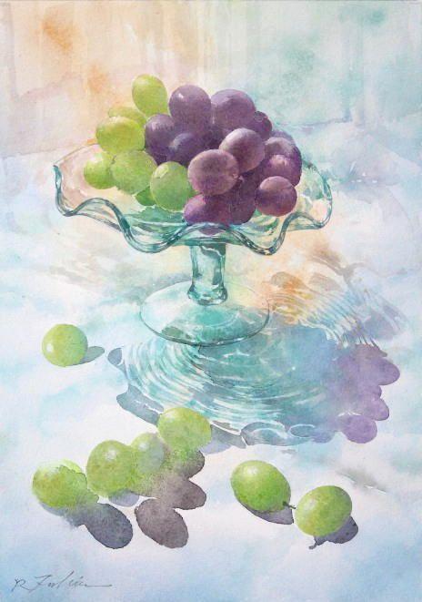 水彩画 静物 「グラスウェアの葡萄」 福井良佑 作