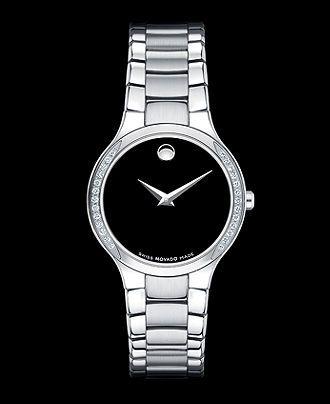 Movado Watch, Women's Swiss Serio Diamond Bezel (1/8 ct. t.w.) Stainless Steel Bracelet 36mm 0606385 - Women's Watches - Jewelry & Watches - Macy's