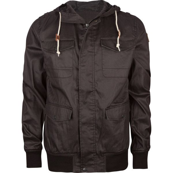 ELEMENT Rainer Mens Hooded Jacket (200 BRL) ❤ liked on Polyvore featuring men's fashion, men's clothing, men's outerwear, men's jackets, men, black, mens waxed cotton jacket, mens waxed jacket, mens jackets and mens hooded jackets
