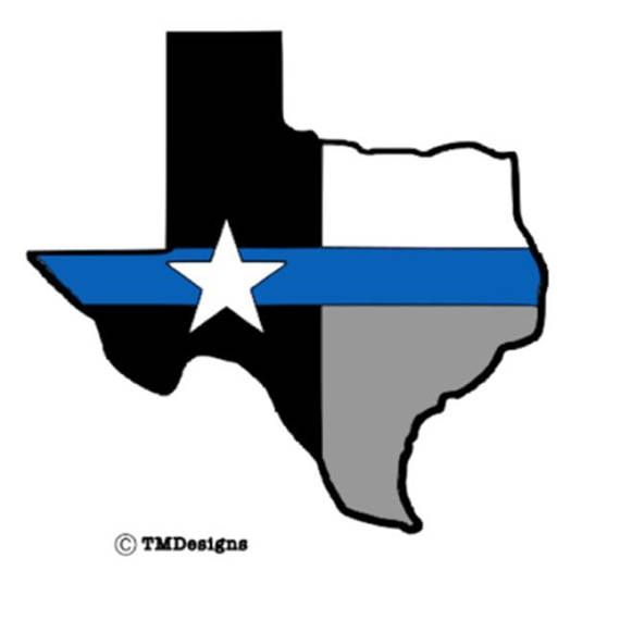State of Texas POLICE OFFICER BADGE Decal Various Sizes Thin Blue line decal