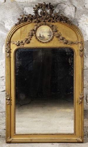 Antique Gold French Mirror with Small Landscape Painting Insert