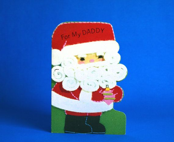 Vintage For My Daddy Christmas Card  60s Kitsch by FunkyKoala
