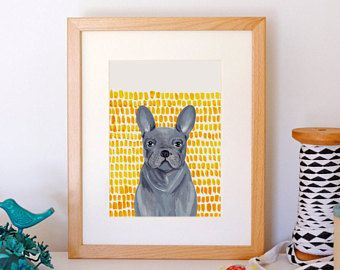 A5 Giclee print: Grey French Bulldog illustration by Stephanie Cole DESIGN on Etsy #frenchie © 2018