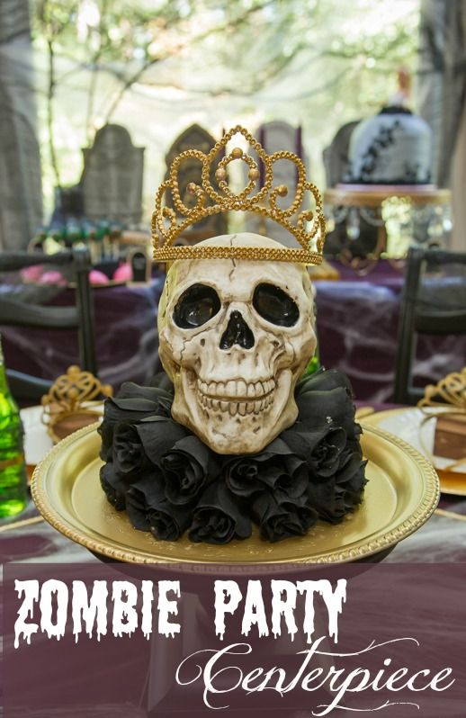 Tutorial: Learn how to make this Zombie Princess Party Centerpiece by Double the Fun Parties | http://doublefunparties.com/2014/10/22/tutorial-zombie-princess-party-centerpiece/