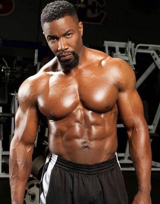 Michael Jai White's buffed physique...