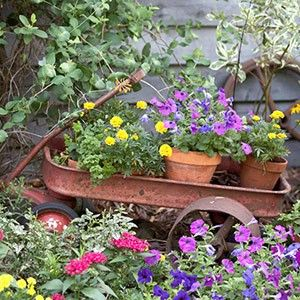 Garden art from your imagination - don't throw that old rusty wagon away! - Click image to find more hot Pinterest pins