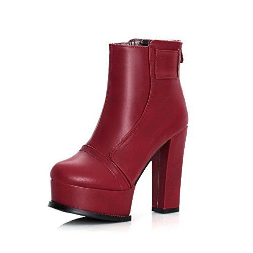 Women Zipper Buckle PU Mid Heel Waxed Boots