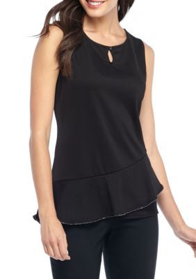 The Limited Women's Sleeveless Bead Neck Curved Top - Black - Xs