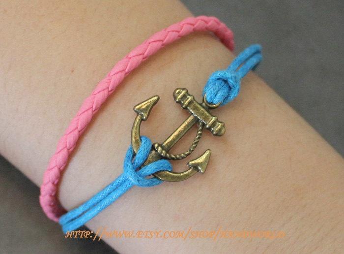 Jewelry  Bracelet Antique Bronze anchor Bracelet, Blue Rope Bracelet, Pink  Leather Bracelet. $4.50, via Etsy.
