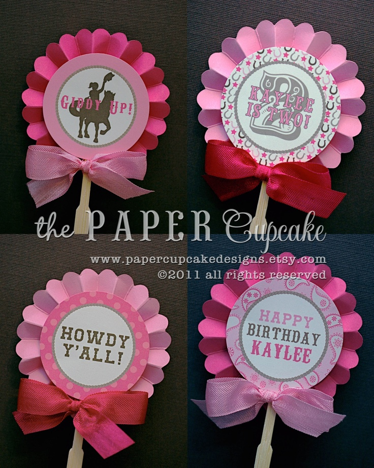 Layered Signature Paper Rosette Backed Double-Sided Boutique style Party / Cupcake Toppers in our Giddy Up Lil' Cowgirl Collection motif @thepapercupcake