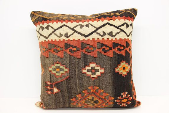 Turkish Kilim pillow cover 24x24 inches Throw by stripepattern
