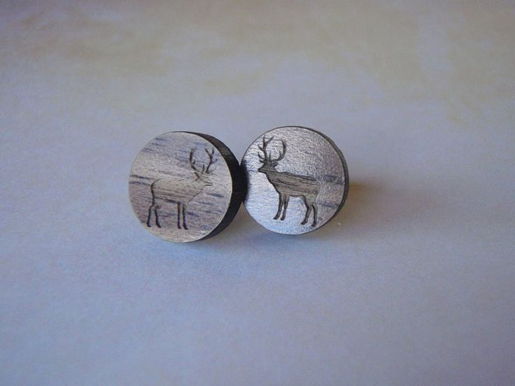 Gorgeous wooden Stag Earrings by NixieNooDesigns on Etsy