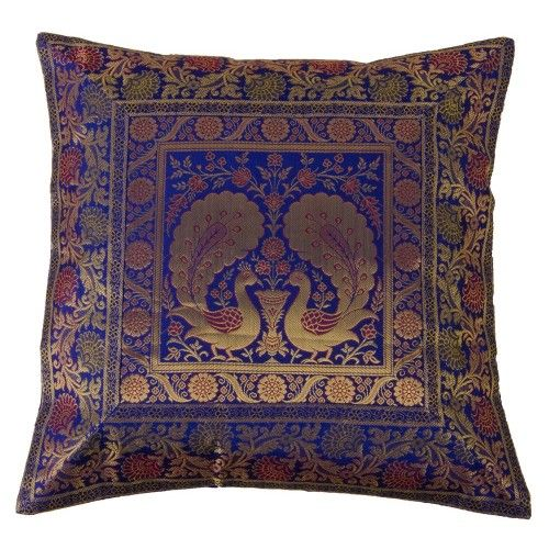 Royal Blue Peacock Cushion Cover. Guys are you ready to bring a revolution?  So come along and we will tell you the way your house are decorated with the cushions and covers brought to you by TrendzTree.com Give your house an entirely new look and a fantabulous design of art and craft.