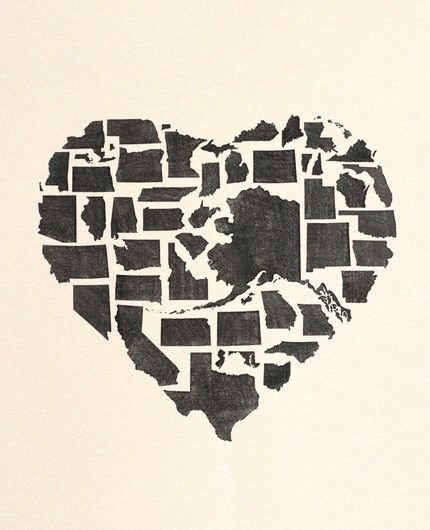 Heart made of all 50 states #heart #states #roadtrip cute for a scrap book if you road trip the states! Do state cut outs of my pictures like this