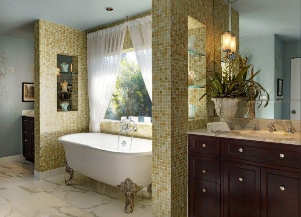 Image of Fancy French Themed Bathroom Decor with Freestanding Bathtubs Using Carved Wood Legs Between Ceramic Mosaic Wall Tile Alongside Dark Walnut Vanity Unit Including Oval Undermount Sink with Cottage Bathroom Vanity Set Small Bathroom Design Plans Posters for Bathroom Country Bathroom Vanities Ideas Cottage Style Bathroom Furniture
