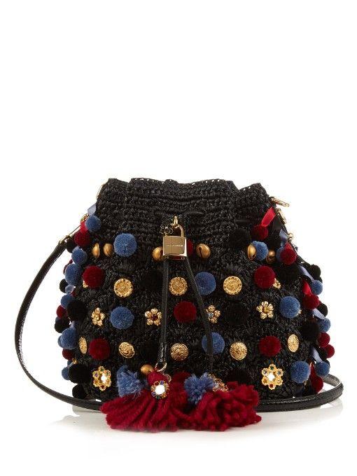 Dolce & Gabbana Claudia pompom-embellished raffia bag