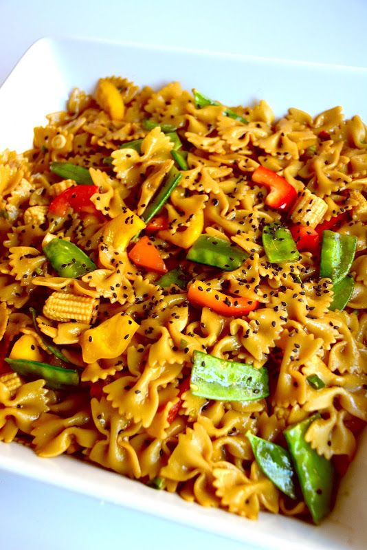 A new twist on an old friend. // Aesthetic Nest: Cooking: Asian Pasta Salad #recipe #bowties
